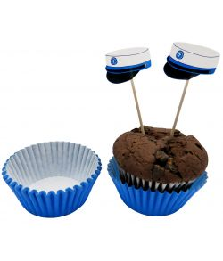 24 stk. student muffinsforme med blå hue på sticks.