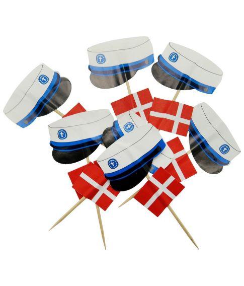 12 stk. sticks med flag og studenterhuer.