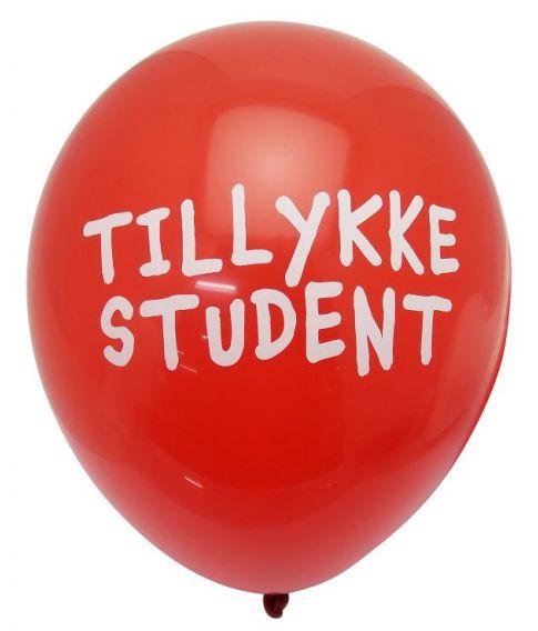"""Røde balloner med tekst """"Tillykke Student""""."""