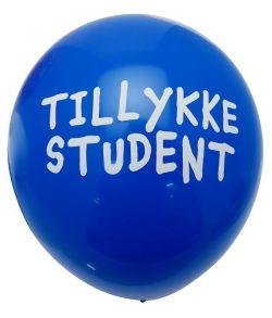 """Blå balloner med tekst """"Tillykke Student""""."""