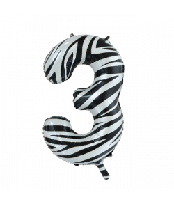 Folie tal ballon 3 zebra, 86 cm.