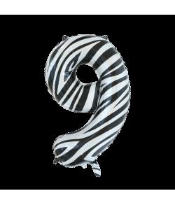 Folie tal ballon 9 zebra, 86 cm.