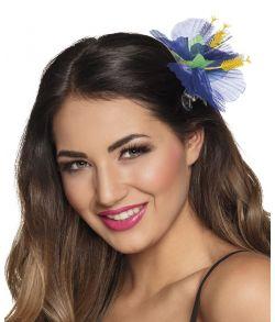Blå Hibiscus blomst til håret på klemme.