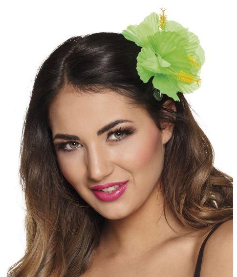Grøn Hibiscus blomst til håret på klemme.