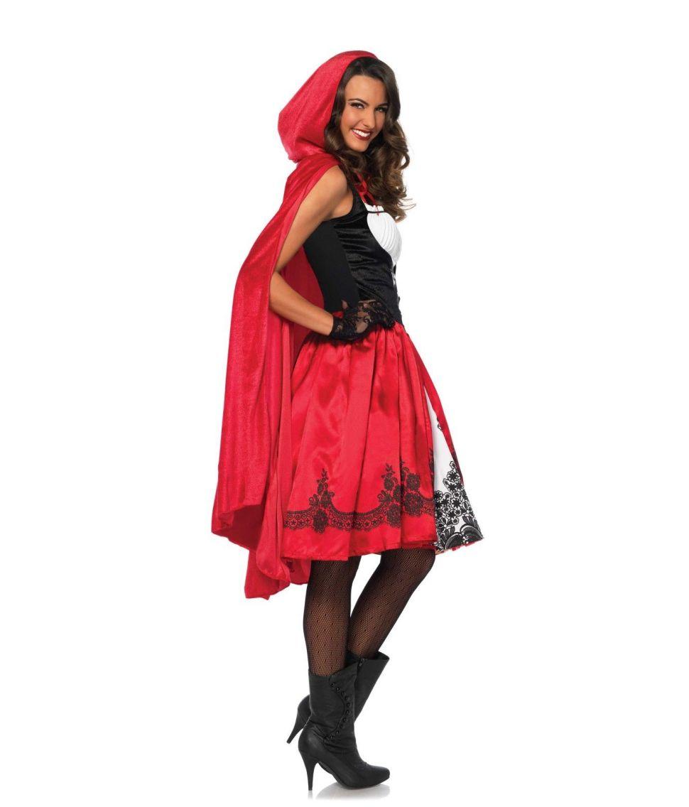 Flot Rødhætte kostume med knælang kjole og lang velour