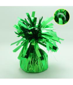 Grøn ballonvægt med øje pakket ind i folie.
