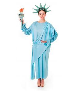 Frihedsgudinde kostume med kjole og krone.