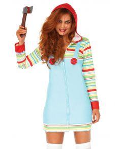 Chucky fleece kjole med hætte.