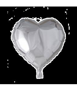 Folieballon Hjerte sølv 46 cm
