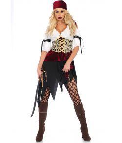 Flot pirat kostume med kjole og bandana.