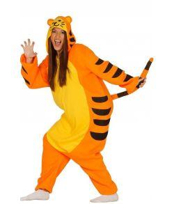Sjovt tiger kostume med baggy jumpsuit.