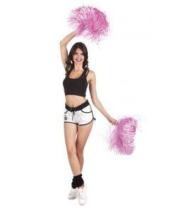 Pink pompon med håndtag til Cheerleader udklædningen.