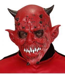 Uhyggelig djævle maske i gummi.