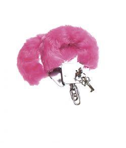 Metal håndjern med pink plys.