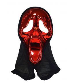 Scream maske i metallic plastik med hætte.