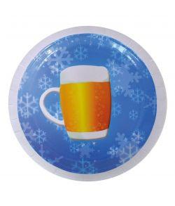 8 stk. pap tallerkner med øl motiv til Oktoberfesten.
