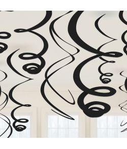12 stk. sorte loft dekorationer i plastfolie
