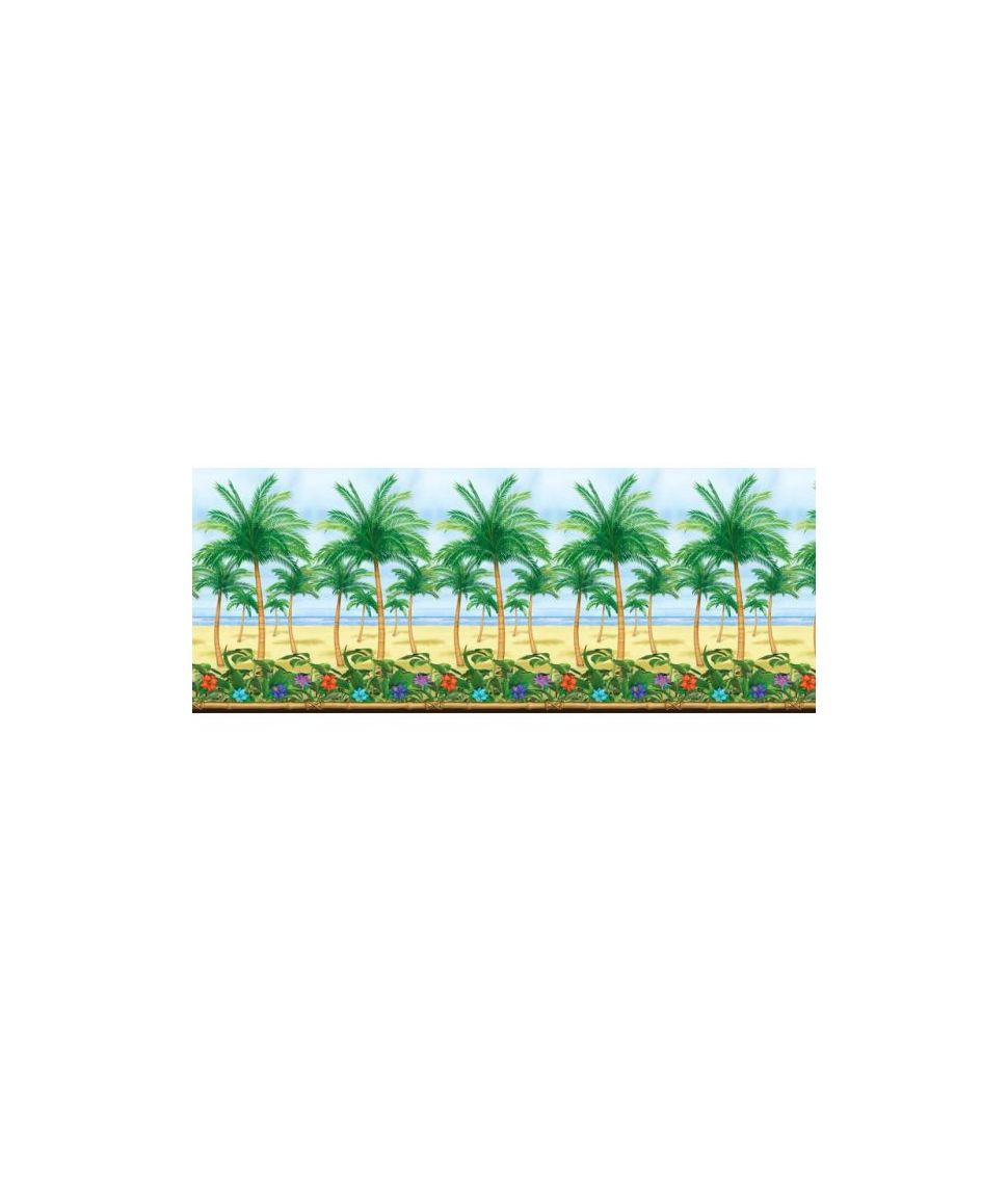 Scene setter med palmer, strand og havet i plast folie til Hawaii festen.