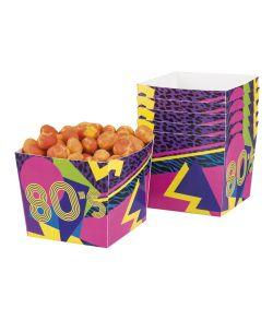 6 stk farverige papbæger til f.eks. chips til 80er festen.
