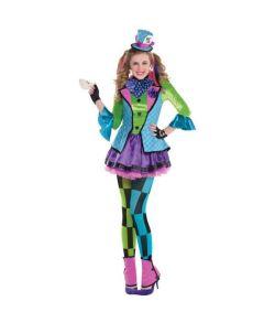 Mad Hatter kostume med kjole til teenagere.