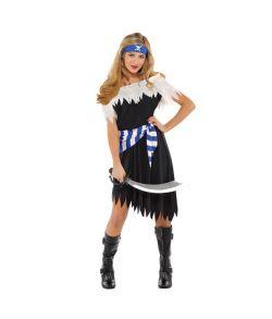 Smart pirat kostume med kjole, pandebånd og bælte.