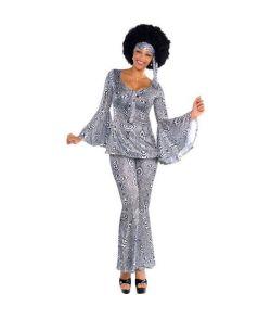 Dancing Queen kostume med bluse, bukser og pandebånd.