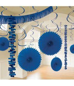 Blåt dekorations sæt bestående af 18 dele til ophæng.