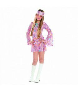 80er disco kostume med kjole og pandebånd.