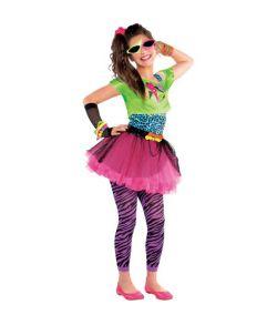 Farverigt 80er disco kostume til piger.