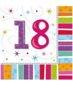 Servietter til 18 års fødselsdag.
