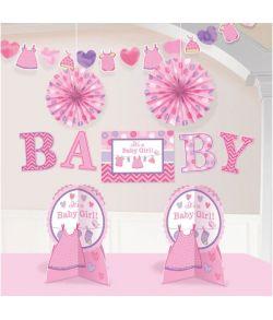 10 stk lyserøde dele til babyshower eller barnedåben.