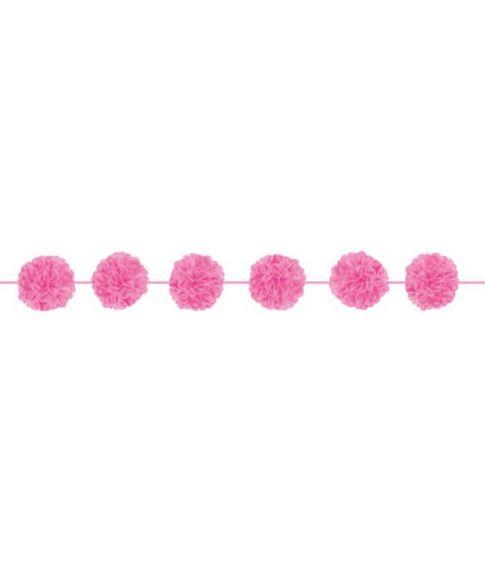 Pink farvede guirlander med pomponer.