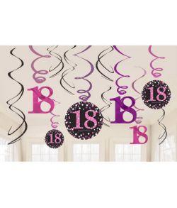 Flotte pink loftspiraler til 18 års fødselsdag.