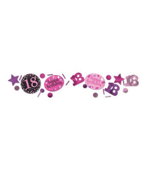 Pink Sparkling konfetti til 18 års fødselsdag.