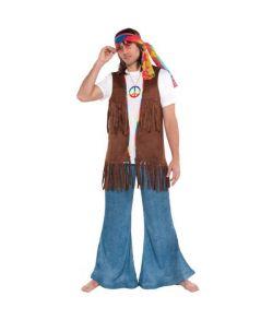 Brun hippie vest i ruskind-look.