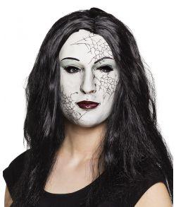 Hvid halloween zombie maske med langt hår.