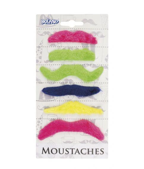 Moustaches i neon 6 stk