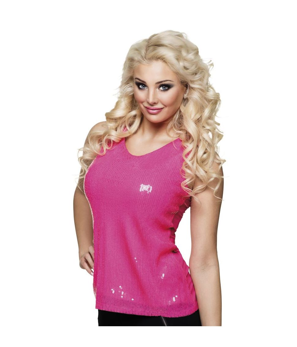 Pink top med pailletter til 80er udklædningen.