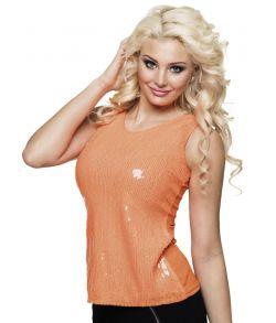 Orange top med pailletter til 80er udklædningen.