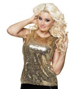 Guld top med pailletter til 80er disco udklædningen.