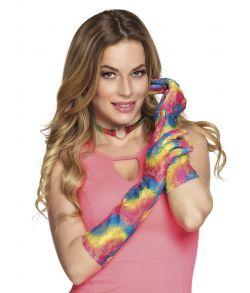 Lange blonde handsker regnbuens farver.