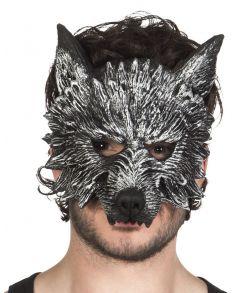 Ulve halvmaske i malet hårdt skum med elastik.
