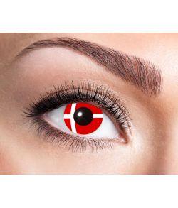 Sjove kontaktlinser med det danske flag.