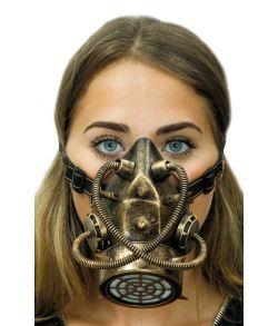 Steampunk gasmaske i gummi med elastik.