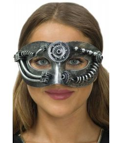 Sølv Steampunk halvmaske.