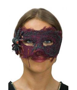 Halloween halvmaske med edderkop
