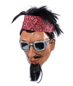 Rocker maske i latex med gedeskæg og hår med bandana