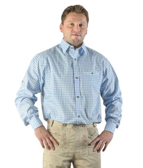 Lyseblå og hvid ternet tyrolerskjorte.