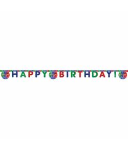 """Pyjamasheltene bogstav guirlande med """"Happy Birthday"""""""