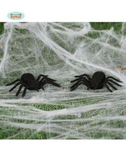 Sorte edderkopper til halloween dekorationen.